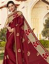 image of Embroidered Sangeet Function Wear Saree In Georgette Maroon