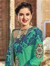 photo of Wedding Wear Designer Embroidered Saree In Georgette Navy Blue