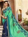 image of Wedding Wear Designer Embroidered Saree In Georgette Navy Blue