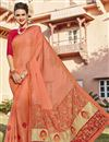image of Function Wear Georgette Salmon Color Designer Embellished Saree