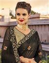 photo of Georgette Wedding Function Wear Black Designer Saree With Fancy Work
