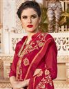 photo of Embroidered Sangeet Function Wear Saree In Red Georgette