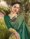 photo of Fancy Function Wear Teal Georgette Saree With Heavy Work