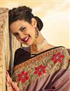 photo of Fancy Function Wear Brown Georgette Saree With Heavy Work