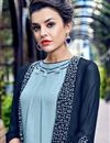 photo of Georgette Readymade Long Kurti In Navy Blue With Work