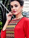 photo of Embroidered Georgette Red Readymade Long Kurti