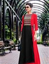 image of Georgette Readymade Long Kurti In Red With Kurti