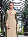 photo of Beige Embellished Georgette Readymade Long Kurti In Plus Size