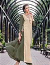 image of Beige Embellished Georgette Readymade Long Kurti In Plus Size