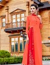 image of Orange Georgette Readymade Long Kurti With Work In Plus Size