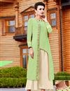 image of Georgette Readymade Long Kurti In Sea Green With Work