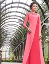 image of Embroidered Georgette Pink Readymade Long Kurti
