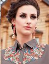 photo of Grey Embellished Georgette Readymade Long Kurti
