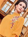 photo of Mustard Georgette Readymade Long Kurti With Work