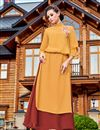 image of Mustard Georgette Readymade Long Kurti With Work
