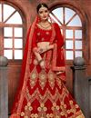 image of Red Embellished Fancy Function Wear Lehenga Choli In Net