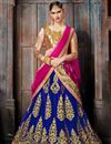 image of Navratri Special Function Wear Net Fabric Fancy Lehenga In Navy Blue