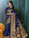 image of Banarasi Silk Function Wear Navy Blue Traditional Saree With Weaving Work