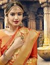 photo of Tempting Orange Function Wear Art Silk Saree With Weaving Work