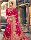 image of Engaging Crimson Art Silk Designer Saree With Weaving Work