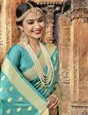photo of Classic Weaving Designs On Cyan Art SilkOccasion Wear Saree