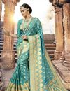 image of Classic Weaving Designs On Cyan Art SilkOccasion Wear Saree