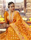 photo of Orange Color Wedding Wear Art Silk Saree With Weaving Work