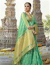 image of Creative Weaving Work On Designer Saree In Sea green Art Silk Fabric