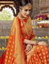photo of Marvelous Weaving Work On Party Wear Art Silk Saree In Rust