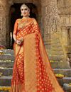 image of Marvelous Weaving Work On Party Wear Art Silk Saree In Rust