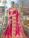 image of Dazzling Weaving Work On Rani Party Wear Art Silk Saree