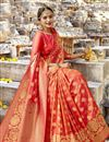 photo of Entrancing Art Silk Designer Saree In Salmon With Weaving Work