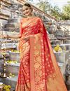 image of Entrancing Art Silk Designer Saree In Salmon With Weaving Work