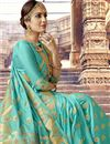 photo of Charming Cyan Art Silk Occasion Wear Saree With Weaving Work