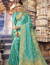 image of Charming Cyan Art Silk Occasion Wear Saree With Weaving Work