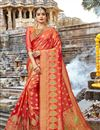 image of Orange Weaving Work On Festive Wear Saree In Art Silk Fabric