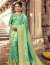 image of Radiant Weaving Work On Sea Green Ethnic Wear Art Silk Saree