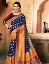 image of Festive Special Traditional Wedding Function Wear Saree In Art Silk Navy Blue