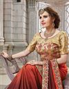 photo of Festive Special Orange Fancy Embroidered Party Wear Art Silk Saree