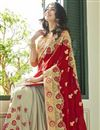 photo of Designer Function Wear Maroon Georgette Half And Half Saree With Work