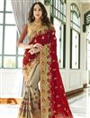 image of Designer Function Wear Maroon Georgette Half And Half Saree With Work