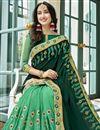 photo of Dark Green Wedding Function Wear Embroidered Half And Half Saree In Georgette
