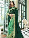 image of Dark Green Wedding Function Wear Embroidered Half And Half Saree In Georgette