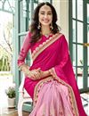 photo of Pink Georgette Embroidered Wedding Wear Half And Half Saree