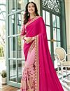 image of Pink Georgette Embroidered Wedding Wear Half And Half Saree