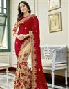 image of Wedding Wear Georgette Embroidered Half And Half Saree In Cream