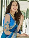 photo of Function Wear Embellished Blue Half And Half Saree In Georgette