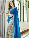 image of Function Wear Embellished Blue Half And Half Saree In Georgette