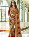 image of Georgette Function Wear Chikoo Color Embroidered Half And Half Saree