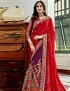 image of Embellished Designer Half And Half Saree In Georgette Red